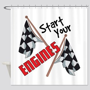 Start Your Engines Shower Curtain