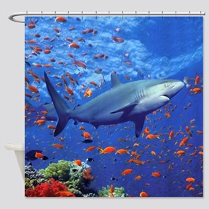 Colorful Shark Shower Curtain