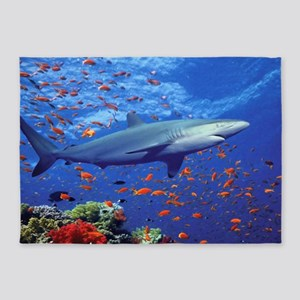 Colorful Shark 5'x7'Area Rug