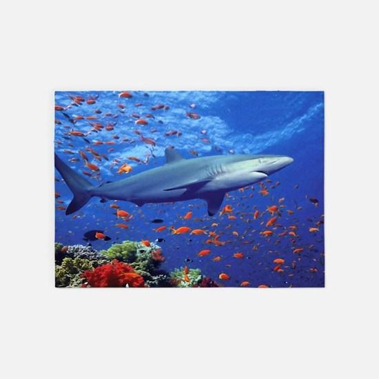 Colorful Shark 5'x7'Area Rug