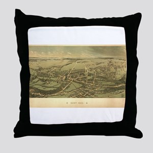 Antique US Maps Quincy, MA 18 Throw Pillow