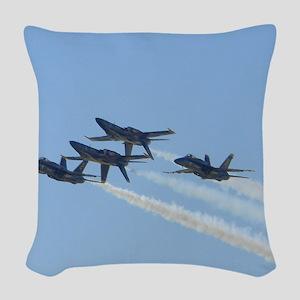 Blue Angels over Texas Woven Throw Pillow