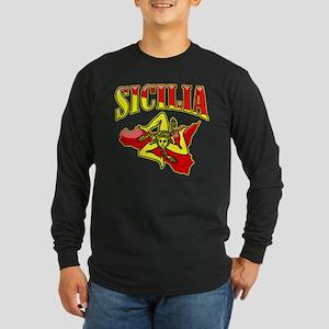 Sicilia Sicilian T-Shirts Trinacria Long Sleeve Da