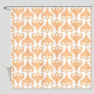 vintage orange damask pattern Shower Curtain