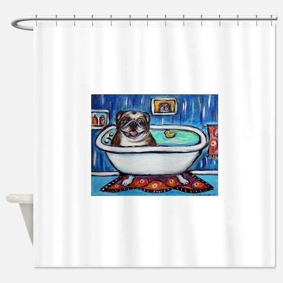 English Bulldog Bathtime Shower Curtain
