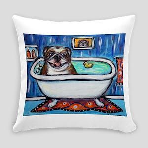 English Bulldog Bathtime Everyday Pillow