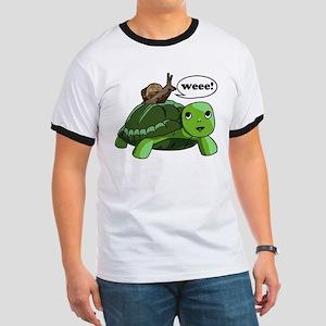 Snail Riding Turtle Ringer T