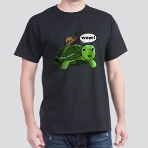 Snail Riding Turtle Dark T-Shirt