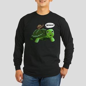 Snail Riding Turtle Long Sleeve Dark T-Shirt