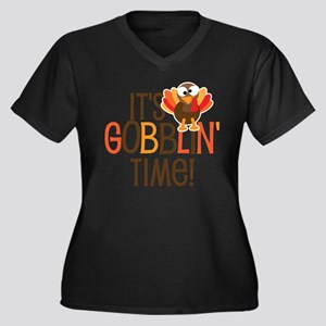 It's Gobblin Women's Plus Size V-Neck Dark T-Shirt