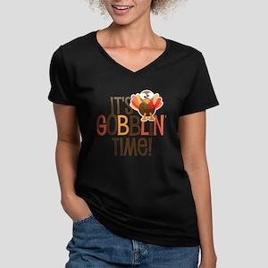 It's Gobblin' Time! Women's V-Neck Dark T-Shirt