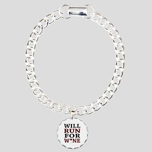 Will Run For Wine Charm Bracelet, One Charm