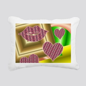 Lips and hearts Rectangular Canvas Pillow