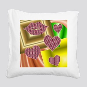 Lips and hearts Square Canvas Pillow