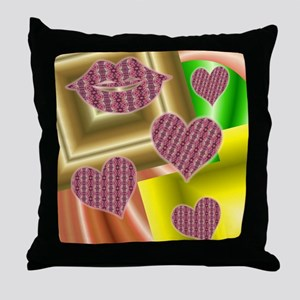 Lips and hearts Throw Pillow