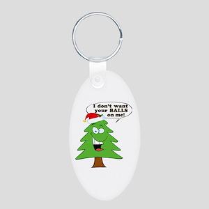Christmas Tree Harassment Aluminum Oval Keychain