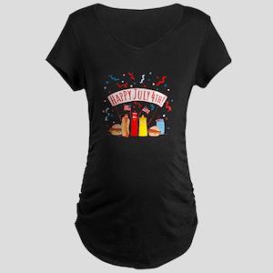Happy July 4th Picnic Maternity Dark T-Shirt
