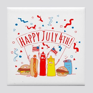 Happy July 4th Picnic Tile Coaster