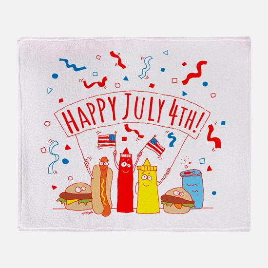 Happy July 4th Picnic Throw Blanket