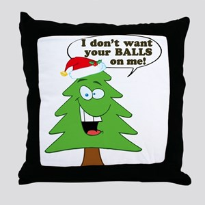 Christmas Tree Harassment Throw Pillow