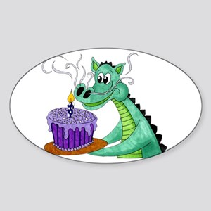 Birthday Dragon Oval Sticker