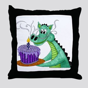 Birthday Dragon Throw Pillow
