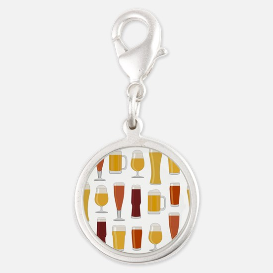 Beer Lover Print Silver Round Charm