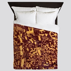 Newspaper Rock Petroglyph Ancient Art Queen Duvet
