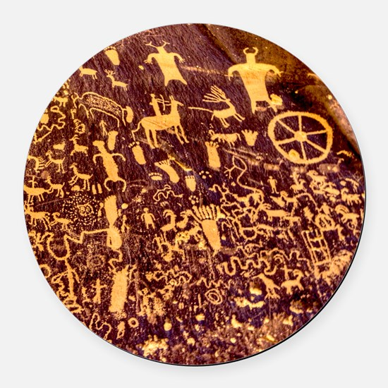 Newspaper Rock Petroglyph Ancient Art Round Car Ma