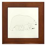 Polar Bear Mom and Babies Framed Tile