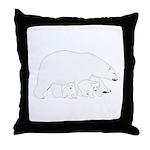 Polar Bear Mom and Babies Throw Pillow