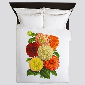 Summer Dahlias Queen Duvet