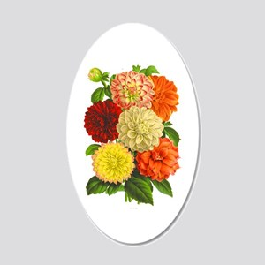Summer Dahlias 20x12 Oval Wall Decal