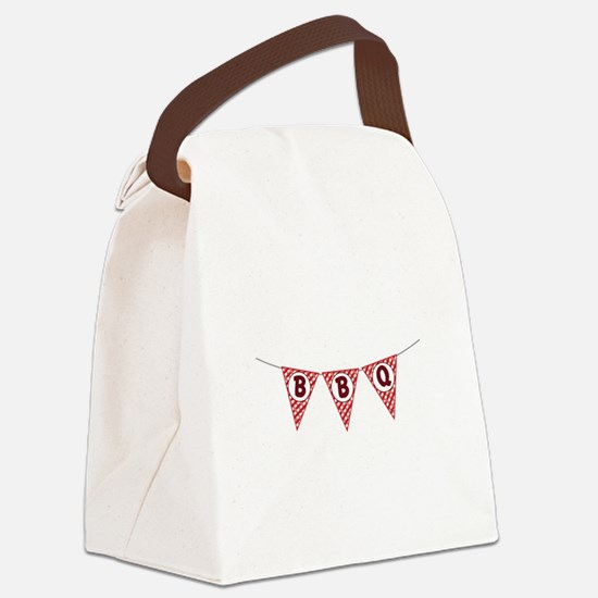 BBQ Gingham Flags Canvas Lunch Bag