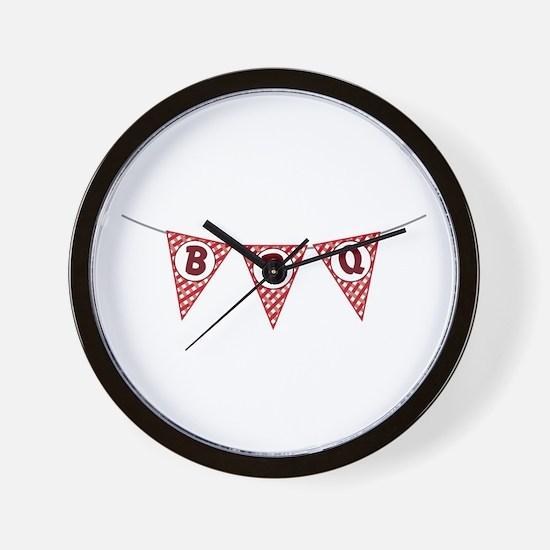 BBQ Gingham Flags Wall Clock