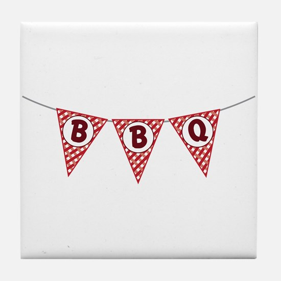 BBQ Gingham Flags Tile Coaster