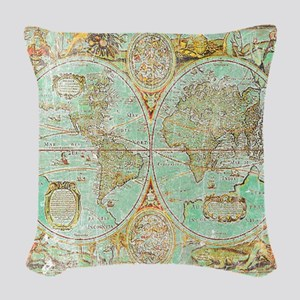 Old World Map Woven Throw Pillow