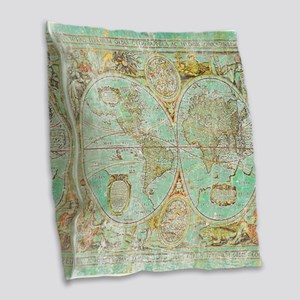 Old World Map Burlap Throw Pillow