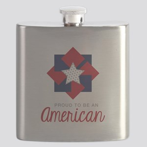 Proud To Be An American Flask