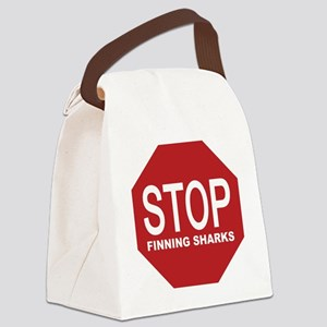 stop finning sharks sign Canvas Lunch Bag