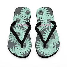 Cute Mint Floral Flip Flops