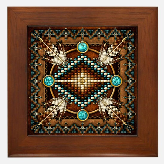 Native American Style Tapestry 1 Framed Tile