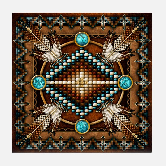 Native American Style Tapestry 1 Tile Coaster