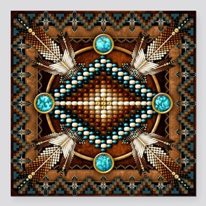 Native American Style Tapestry 1 Square Car Magnet