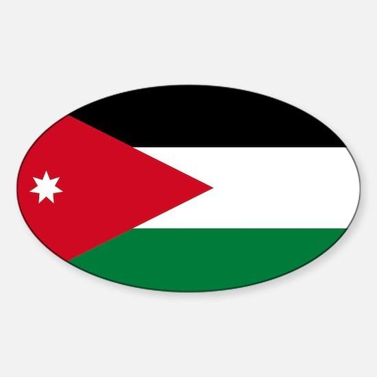 Flag of jordan sticker oval