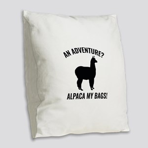 Alpaca My Bags Burlap Throw Pillow