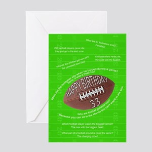 33rd birthday, awful football jokes Greeting Cards