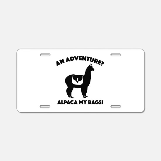Alpaca My Bags Aluminum License Plate