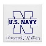 Navy Proud Wife Tile Coaster