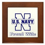 Navy Proud Wife Framed Tile